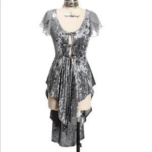 Neo-Ludwig Gothic Long Vest Tail Velvet Dress